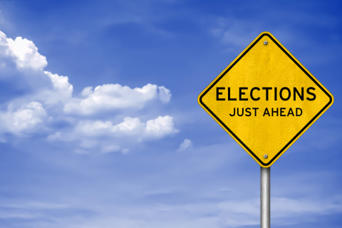 elections ahead road sign